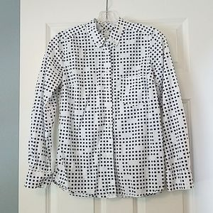 White button down shirt with navy dots